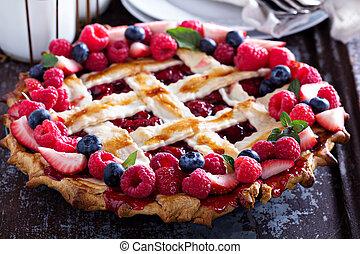 Berry lattice pie - Whole assorted berry lattice pie with...