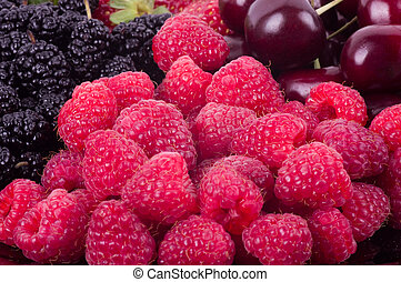 Berry Mix background - raspberries, mulberry and cherry
