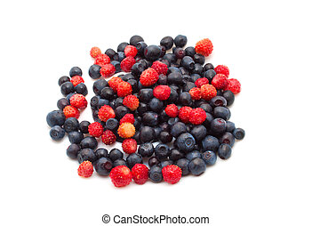 berry mix of blueberries and strawberries isolated on white ...