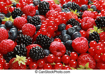 On a table there are strawberries, bilberries, red currants, raspberries and blackberries