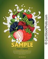 Berry mix on milk splash - Berries mix composition in milk...
