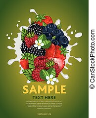 Berry mix on milk splash - Berries mix composition in milk...