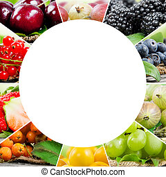 Berry mix - Photo of colorful berry mix with white circle ...