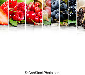 Berry mix - Photo of colorful berry mix with white space for...