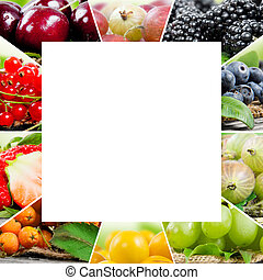 Berry mix - Photo of colorful berry mix with white square ...