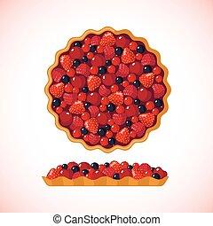Berry pie icon on white background