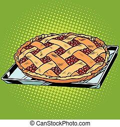 Berry pie on iron pallet