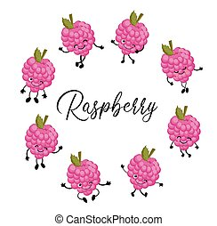 Berry raspberry character on a white background. Funny pictures for kids pink color.