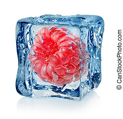 Berry raspberry in ice cube isolated on a white background