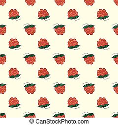 Berry raspberry seamless pattern nature background