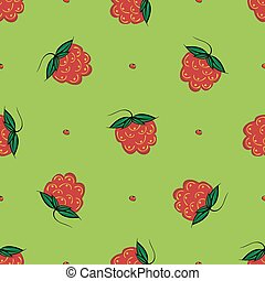Berry raspberry seamless pattern nature green background