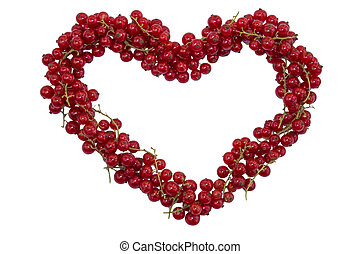berry red currant in the shape of a heart isolated on white background