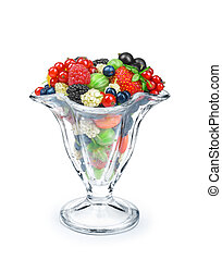 berry salad in a glass bowl isolated on white background
