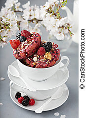 Berry shortcake donuts in a white cup - Berry shortcake ...