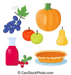 Berry syrup bottle colorful cartoon icons for thanksgiving day holiday vector design autumn season celebration