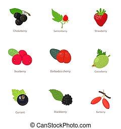 Berry type icons set, isometric style