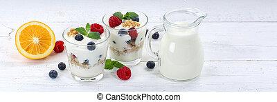 Berry yogurt yoghurt with berries fruits cup muesli banner breakfast