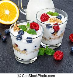 Berry yogurt yoghurt with berries fruits cup muesli square slate breakfast