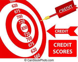 bersaglio, miglioramento, credito, punteggio, freccetta, ...