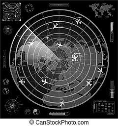 bersaglio, segno, scuro, radar, fondo, piani, militare, bianco, tracce, mostra