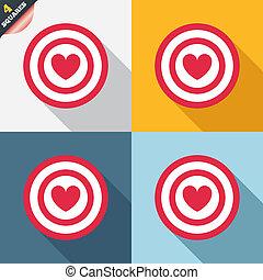 bersaglio, simbolo., segno, scopo, asse, freccette, icon.