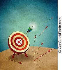 bersaglio tiro arco, con, frecce, illustrazione