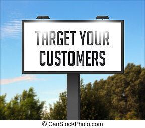 bersaglio, tuo, clienti, esterno, tabellone