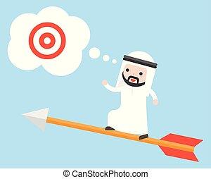 bersaglio, volare, ricerca, arabo, saudita, freccia, uomo affari, stare in piedi