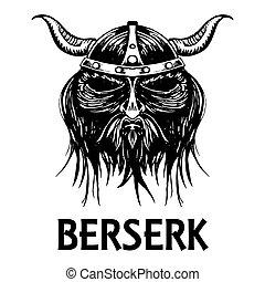 Berserk or berserker warrior head vector icon - Berserk or...
