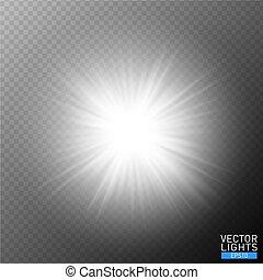 bersten, dekoration, hell, design, rays., flash., hintergrund., glühen, weißes, explosion, effekt, abbildung, sonne, durchsichtig, lichtdurchlässig, scheinen, zentrieren licht, star., flare., element, vektor, beschwingt