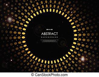 bersten, sonne, abstrakt, flare., gelber , schwarzer hintergrund, geometrisch, zukunftsidee