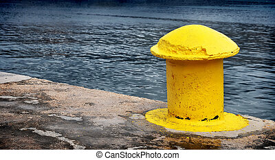 Detailed picture yellow berth on the ship