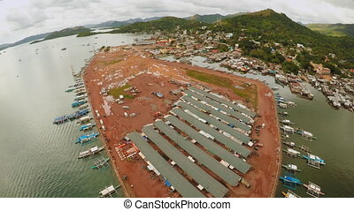 Berth with boats in the town of Coron. Palawan. Philippines....