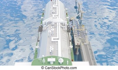 Berth with Tanker Ship and Loading arms. 3D-rendering - The ...