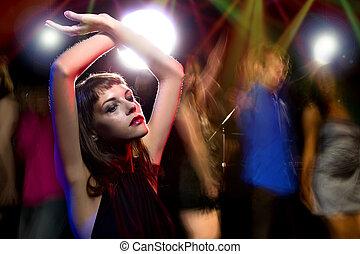 berusat, kvinnlig, in, a, nattklubb