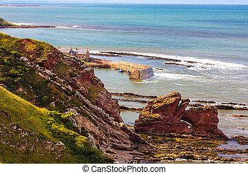 Berwickshire Coastal Path, view on the Cove Bay, Scotland, UK