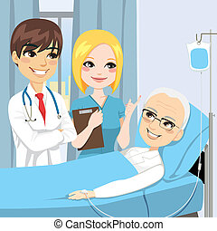 besöka, senior, tålmodig, läkare