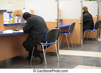 besökare, in, bank, 2