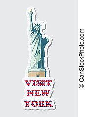 besøg, ny york, mærkaten