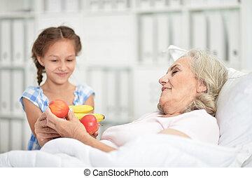 besøge, hospitalet, portræt, granddaughter, bedstemoderen