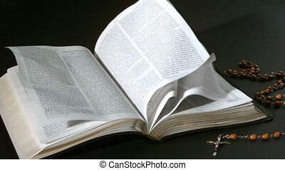 bes, bible, tourner, pages, vent