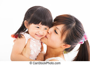 besar, feliz, hija, ella, madre