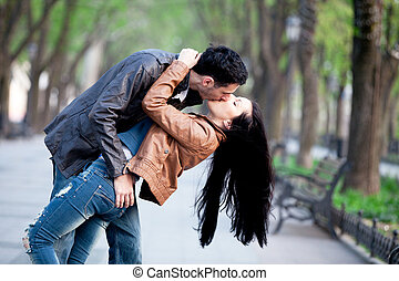 besar, pareja, city., callejón