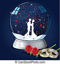 besar, pareja, globo, vidrio