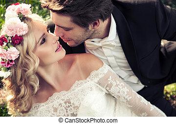 besar, pareja, matrimonio, retrato