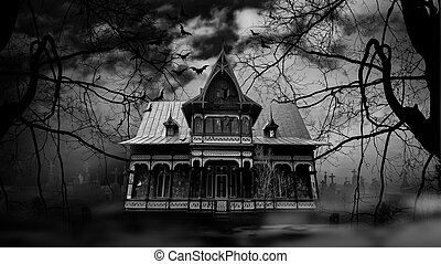 besatt, fotografi, hus, svart, vit