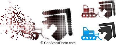 beschädigt, pixel, halftone, haus, abbruch, ikone
