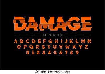 beschädigt, schriftart, design