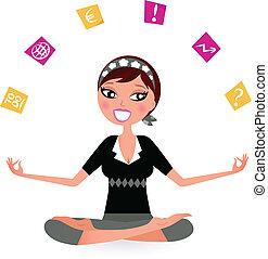 beschäftigt, frau, joga, entspannen, notizen, abbildung,...