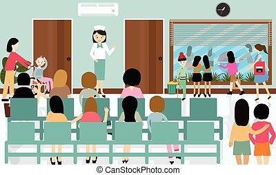 beschäftigt, krankenhausflur, tätigkeiten, pflegen patienten, in, warteschlange, warten, doktor